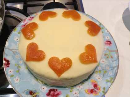 Orange cake decorated with candied peel