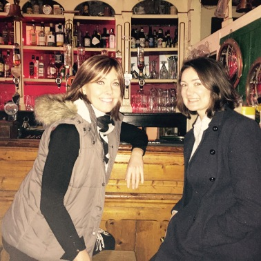 Kate and I putting a drinks order in